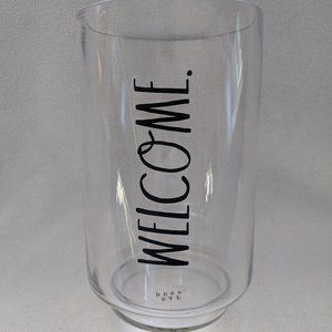 Rae Dunn Glass Vase Welcome Large Clear Cylinder